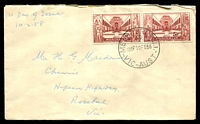 Lot 4223:1958 War Memorial 5½d se-tenant pair on plain cover, cancelled with Melbourne cds 10FE58, hand-addressed.