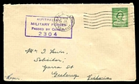 Lot 875:1942 cover to Geelong, Victoria franked with 1d green QE, 24 Jul 1942 Mil. P.O. Ingleburn, N.S.W. machine cancel and violet boxed 'AUSTRALIAN/MILITARY FORCES/PASSED BY CENSOR/2304' (A1) handstamp.
