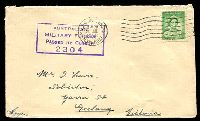 Lot 4489:1942 cover to Geelong, Victoria franked with 1d green QE, 24 Jul 1942 Mil. P.O. Ingleburn, N.S.W. machine cancel and boxed 'AUSTRALIAN/MILITARY FORCES/PASSED BY CENSOR/2304' (A1) in violet handstamp.