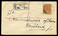 Lot 572 [1 of 2]:5d Orange-Brown Die II - BW #127(3)n [3R43] White flaw on 'd' in right '5d' - State I, cancelled with poor 'REGISTERED/11JE35/ROCKHAMPTON' (B2 - better backstamp) on cover with provisional 'Bluff' registration label, paper adhesion on top left of stamp and corner bend LRC.