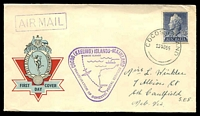 Lot 3626:1955 illustrated generic APO FDC with Australian 1/0½d QEII tied by fine Cocos Island cds 23NO55 and with fine 'Inauguration of Domestic Postal Services' and 'Airmail' cachets (both violet), addressed to Victoria, Australia.