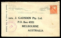 Lot 4101:1942 use of 2d, cancelled with 7 July 1942 Christchurch machine cancel on Gadsden cover to Australia, 'Opened by Censor in New Zealand' label at left tied by violet 'PASSED BY CENSOR N.Z./118' (Allocated to Wellington - A1) handstamp.