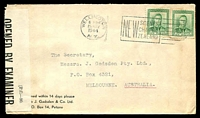 Lot 26615:1944 use of 1d green KGVI x2 on Gadsden advertising cover, cancelled with 15 May 1944 Wellington slogan cancel and 'OPENED BY EXAMINER/D.D.A./36' P.C. 90 censor label [Allocated to Wellington] affixed, addressed to Melbourne, Australia.