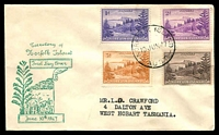 Lot 4042:1947 Ball Bay 1d, 2d, 3d & 6d cancelled with 'NORFOLK ISLAND/10JUN47/AUST' (A1-) on illustrated FDC, addressed to Tasmania.