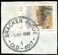 Lot 1186:Bracken Ridge: 36mm double-circle 'BRACKEN RIDGE/5NOV1990/1/QLD-4017' on 43c Local Govt.  PO 1/9/1970.