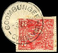 Lot 1230:Goombungee: 30mm 'GOOMBUNGEE/2NO35/QUEENSLAND', on 2d red KGV (cut-to-shape).  Renamed from Gomoran RO c.1890; PO c.1895.