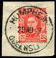 Lot 1239:Humphrey: 'HUMPHERY/29AU47/QUEENSLAND', (sic) on 2½d red KGVI. [Cowan & Dell records the cds altered from Humphrey to its correct name of Humphery from 1936. Postal records lists the office name as the latter from at least 1929.]  RO 1/1/1914; PO c.-/6/1924; closed 13/3/1962.