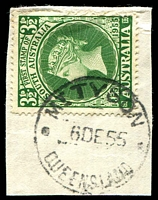 Lot 9134:Mount Tyson: - 'MT TYSON/6DE55/QUEENSLAND' on 3½d SA Stamp Centenary.  Renamed from Mount Russell RO c.-/7/1904; PO c.1917.