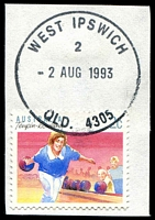 Lot 1716:West Ipswich: - 'WEST IPSWICH/2/2AUG1993/QLD. 4305' on 2c Sports. [Only recorded date]  RO c.1914; PO 1/7/1927.