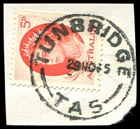 Lot 10965:Tunbridge: - 'TUNBRIDGE/29NO65/TAS' on 5d red QEII.  PO 17/3/1856.