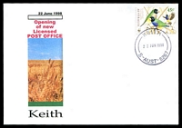 Lot 2138:Keith: - 'KEITH/22JUN1998/S-AUST-5267' on 45c Birds on 'Alexander' opening of Licensed Post Office cover, unaddressed.  Renamed from Mount Monster PO c.-/1/1904.