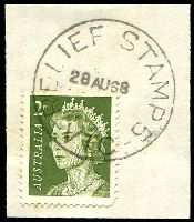 Lot 2342:Corop: 'RELIEF STAMP 5/28AU68/VIC' on 2c green QEII. [Recorded 27/6/68 - 28/8/68]  PO 1/1/1868; LPO 30/5/1994.