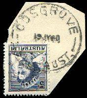Lot 2346:Cosgrove: WWW #30B, 'COSGROVE/19JY60/VIC.-AUST.', on 5d blue QEII. [Rated R]  PO 5/12/1888; closed 28/9/1979.