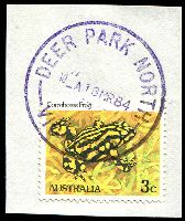 Lot 2365:Deer Park North: WWW #10, 'DEER PARK NORTH/10-A16MR84/VIC 3025', in violet on 3c Frog. [Rated 2R]  PO 4/7/1983; LPO 4/6/1994; renamed Brimbank Central LP c.1999.