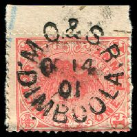 Lot 2372:Dimboola: WWW #410, unframed 'M.O.& S.B/OC14/01/DIMBOOLA' on 1d pink.  Renamed from Nine Creeks PO 16/2/1869; LPO 1/9/1995.