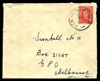 Lot 2459:Dingee: - WWW #20A 'DINGEE/1OC47/VIC' on 2½d red KGVI on Sunball cover (roughly opened).  PO 12/12/1883; LPO 9/6/1994.