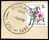 Lot 14383:Donald: - WWW #340A 'DONALD/M.O.O./4JA78/VIC-3480' on 2c Desert Rose. [Rated 2R]  Renamed from Mount Jeffcott PO 1/9/1870; LPO 1/4/1995.