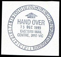 Lot 2388:Eastern Mail Centre (2): WWW #506, 24-hr clock 'HAND OVER/15DEC1995/EASTERN MAIL/CENTRE, 3110 VIC' (9DL). [Only recorded date]  MC 8/11/1992.