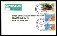 Lot 2648:Echuca: - WWW #390 2 strikes of 'ECHUCA/3/30APR1991/VIC 3564' (arcs 19,19) on 43c Waterbird & 65c Sports pair on Guide Dogs cover with 60x29mm Certified Mail label (toning on one edge).  Renamed from Hopwoods Punt PO 1/1/1855.