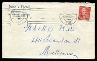 Lot 575:Star Hotel, Corowa cover franked with 2½d Shortland and cancelled with 8 Sep 1947 Prahran machine cancel.