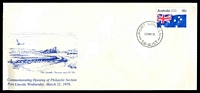 Lot 3844:1978 Port Lincoln SA Philatelic Section Opening use of 18c Australia Day, cancelled with 'PORT LINCOLN/22MR78/SA-AUST' (A1-) on long illustrated 'Commemorating Opening of Philatelic Section Wednesday, March 22, 1978' cover, unaddressed.