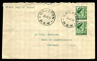 Lot 4220:1950-53 KGVI Definitives 1½d green QE pair on private cover (roughly opened), cancelled with 2 strikes of 'GRAFTON/19JE50/N.S.W' (A1), typed address.