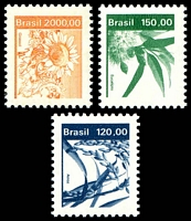 Lot 3718:1980-85 Definitives SG #1828a,1829a,1834 120cr. Rice, 150cr. Eucalyptus & 2000cr. Sunflower.