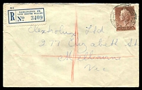 Lot 1346 [1 of 2]:Darlington Point: - 'DARLINGTON POINT/24DE57/N.S.W' (A2 backstamp) on 1/7d brown QEII on Electrolux cover to Melbourne.  RO 1/11/1876; PO 16/7/1877.
