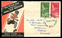 Lot 4094:1947 Health set on illustrated FDC, cancelled with 'WELLINGTON/C.1./1OC47.4PM/N.Z' (A1) cds, addressed to Australia.