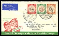 Lot 4244:1955 Health set on illustrated FDC, cancelled with 'WELLINGTON/N.Z./3OC558-PM/AIR MAIL' (A1-) cds, Air Mail label attached, addressed to Australia.