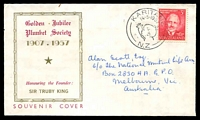 Lot 4194:1957 Plunket Society Jubilee 3d on Rowell? FDC, cancelled with 'KARITANE/14.5.1957/[baby]/N.Z' (A1) cds, addressed to Australia.