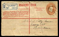 Lot 1565 [1 of 2]:Brisbane: - 'REGISTERED BRISBANE/1130A25JL44/QUEENSLAND' on 5½d Registered Envelope with blue registration label, addressed locally.  PO c.-/4/1830.