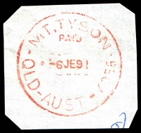 Lot 1685:Mount Tyson: - 'MT. TYSON/PAID/6JE91/QLD-AUST-4356' in red. [Rated R]  Renamed from Mount Russell RO c.-/7/1904; PO c.1917.