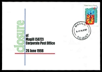 Lot 1316:Magill: - 'MAGILL/5P6JE98/SA-AUST' on Cocos Is 45c Christmas on Alexander Closing day cover, unaddressed.  PO 3/1/1850; LPO 29/6/1998.