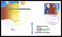 Lot 1787:Magill: - double-circle 'P.O. MAGILL/M.O./29JUN1998/No. 3/S.A. 5072' in violet, on 45c Overland Telegraph Line PSE with Opening of new LPO cachet, unaddressed.  PO 3/1/1850; LPO 29/6/1998.