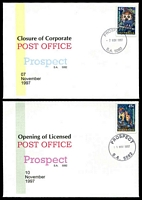 Lot 1826:Prospect (2): - 'PROSPECT/7NOV1997/S.A. 5082' on Alexander Closing Day cover & bold type of cds for 10NOV1997 on Alexander Opening Day cover, both unaddressed. (2) Renamed from Nailsworth PO c.-/12/1874; LPO 10/11/1997.