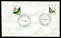 Lot 1755:Rundle Street (2): - 'RUNDLE STREET/5P9MR84/SA-AUST' (Closing Day) on 20c Butterfly & 'RUNDLE MALL/9A12MR84/1/SA 5000' (Opening Day) on 10c Butterfly, on unaddressed cover.  PO 1/2/1882; renamed Rundle Mall PO 9/3/1984.