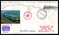 Lot 1880:Stirling North Railway: - 'STIRLING NORTH RAIL/215P29OC93/SA-5710' on 45c Trans Aust. R'way PSE with Closure of Stirling Nth. Rail P.O. cachet and 'AUSTRALIAN NATIONAL RAILWAYS/STAMP/{train}/CANCELLED/STIRLING NORTH' cancel, unaddressed.  PO 1/7/1959; CMA 29/10/1993.
