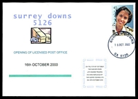 Lot 1892:Surrey Downs: - 'SURREY DOWNS/16OCT2000/SA 5126', on Alexander Opening Day of LPO cover franked with 45c Faces of Australia.  Replaced Fairview Park LPO 16/10/2000.
