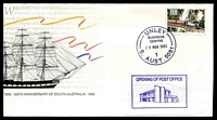 Lot 8930:Unley Business Centre: - 'UNLEY/BUSINESS/CENTRE/29MAR1993/1/S. AUST. 5061' on 45c Train on 150th SA Anniversary APO cover with Opening of Post Office adhesive, unaddressed.  BC 29/3/1993.