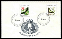 Lot 1725:Walker's Flat: - 2 strikes of 'WALKER FLAT/31JA84/SOUTH-AUST' (Closing Day) on 10c & 20c Butterflies with Closure of S.A. P.O.'s cachet, unaddressed.  PO 1/9/1889; closed 31/1/1984.