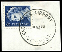 Lot 2660:Essendon Airport (2): - WWW #10B 'ESSENDON AIRPORT    /6AU68/VIC-AUST', on 5c blue QEII. [Rated R]  Renamed from Melbourne Airport PO 1/9/1966; closed 28/12/1984.