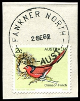 Lot 2483:Fawkner North: - WWW #10 'FAWKNER NORTH/2SE82/VIC-AUST' on 2c Finch. [Rated S]  PO 3/7/1961; LPO 9/9/1993.