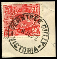 Lot 2413:Ferntree Gully (1): WWW #20, 'FERNTREE GULLY/8JY32/VICTORIA', on 2d red KGV. [Rated S]  PO 1/1/1873; renamed Ferntree Gully South PO 15/4/1967.