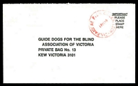 Lot 2416:Fish Creek: WWW #110C, 'PAID AT FISH CREEK/17OC89/VIC-AUST' in red on Guide Dogs cover.  PO 6/10/1890; LPO 18/3/1994.