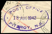 Lot 14925:Fitzroy (2): - WWW #134 46x27mm oval 'POST OFFICE/18AUG1942/FITZROY, N.6.' in violet on registration piece, partially overprinted with 2 different cancels. [Rated 2R]  RH 2/2/1874; PO 10/9/1877.