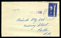 Lot 3461:Hoffmans Mill: - 'HOFFMAN'S MILL/??JU55/W.A.' (C31) on 3½d USA Memorial, addressed to Perth.  PO 22/6/1908; closed 29/12/1961.