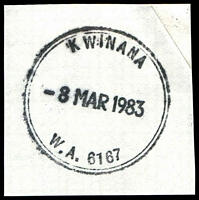 Lot 18825:Kwinana (2): - double-circle 'KWINANA/8MAR1983/W.A. 6167' (Gd/c37R).  Renamed from Calista PO 1/8/1974.