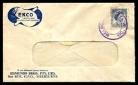 Lot 789:Edmunds Bros Pty. Ltd. window-faced cover with small logo for Lamps & Fluorescent Lighting, franked with 5d blue QEII (toned perfs), cancelled with double-circle Melbourne relief cds (A2).