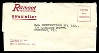 Lot 5046:Ramset Fastening System newsletter wrapper (opened), Postage Paid from Clifton Hill, addressed to Footscray.